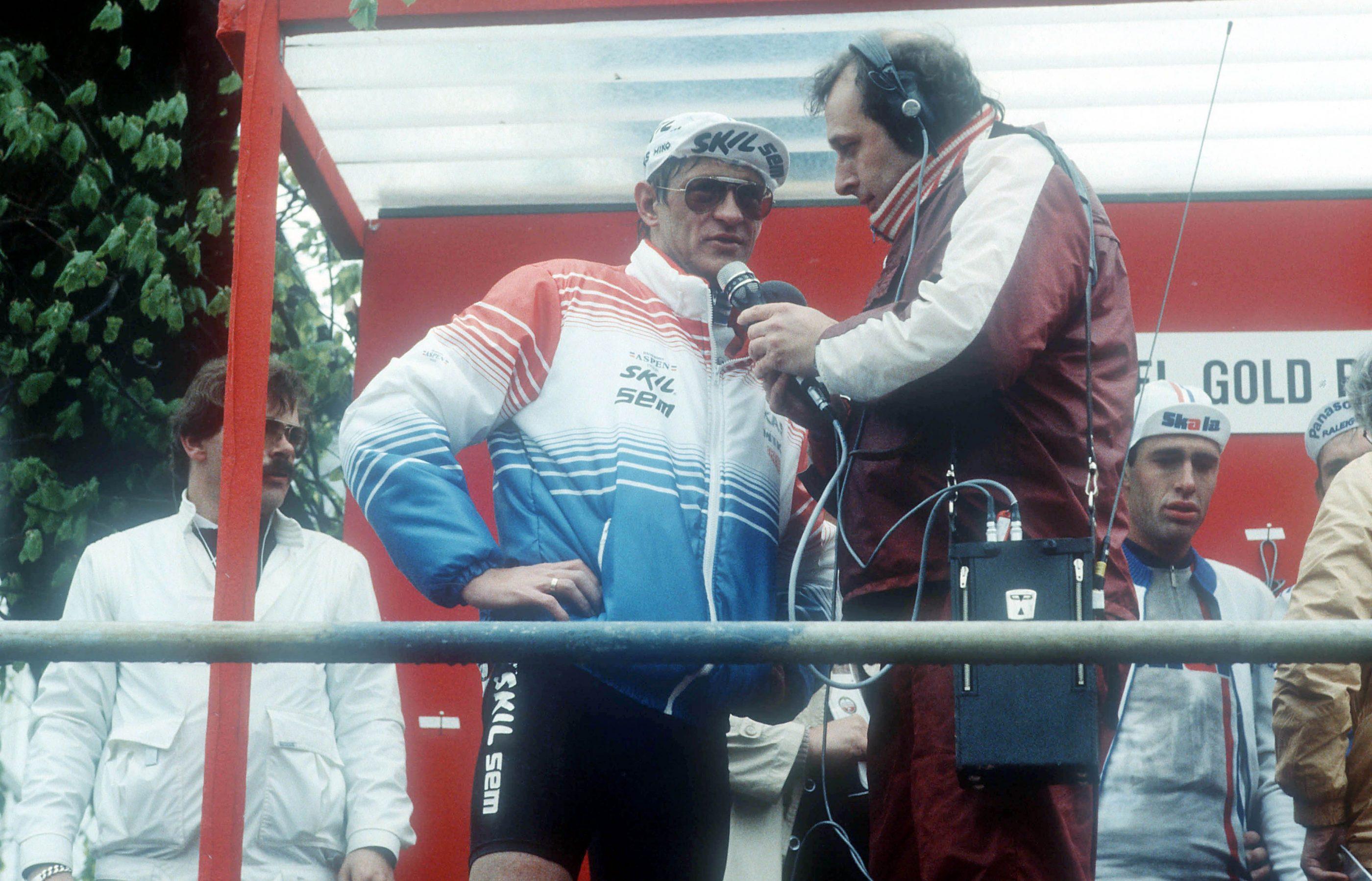 Gerrie Knetemann (Skil) - Amstel Gold Race - Amstel Gold Race 1985 - TV commentator Mart Smeets - foto Cor Vos ©2008